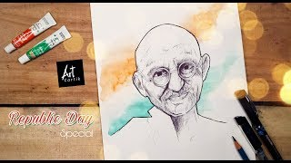 How to Draw Mahatma Gandhi Ji Portrait with Ball Pen | Repubic Day Special | Drawing Tutorial