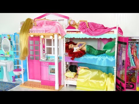 Princess Barbie House Morning Routine New Dress up باربي بيت الدمية Casa de boneca Barbie