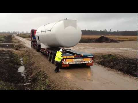 Siemens windmills transport in Platene, Latvia (SIA XL Transports)