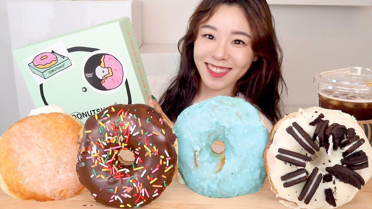 ASMR Cream Donut Mukbang 초코도넛 크림도넛 오레오 레몬 먹방 🍩 노티드도넛의 큰 버전 두넛샵 Chocolate Glazed Donuts Desserts ドーナツ