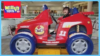 Riding the Giant Monster Truck and Thomas Train Carousel - Puppies and Ice Cream Willy