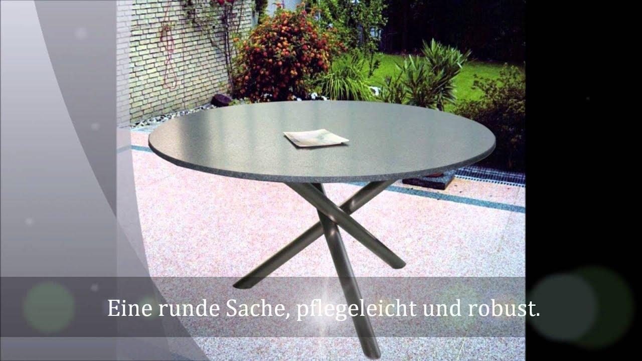 runder gartentisch mikado aus granit youtube. Black Bedroom Furniture Sets. Home Design Ideas