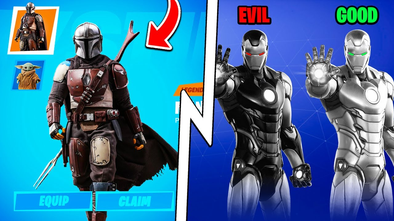 Dark Vs Light Iron Man Mandalorian X Fortnite Black Panther Skin Youtube