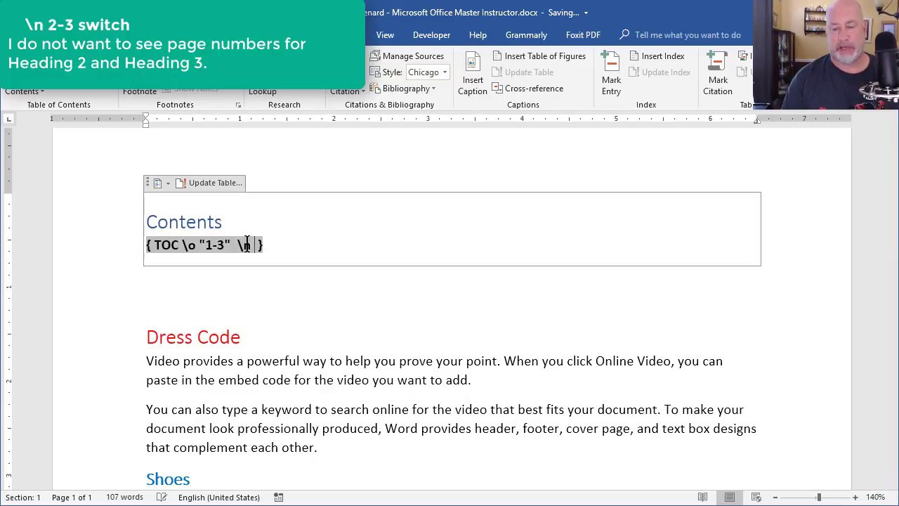 Word Table Of Contents Lose Hyperlinks And Suppress Page Numbers