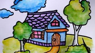 Cara Menggambar Rumah Untuk Sd Sekolah Dasar Youtube