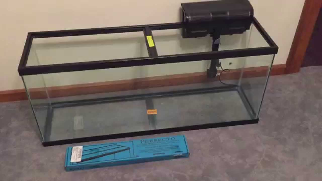 Glass canopy for 55 gallon tetra aquarium part 2 youtube for 55 gallon fish tank for sale