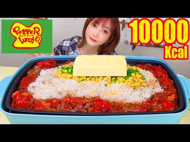 【大食い】バター1箱まるごと使ったペッパーライスを食べる!熱々ぺッパーランチ風に挑戦したら美味しすぎ!追いチーズ最高![三ツ矢 メロン]4.5kg [7人前]10000kcal【木下ゆうか】