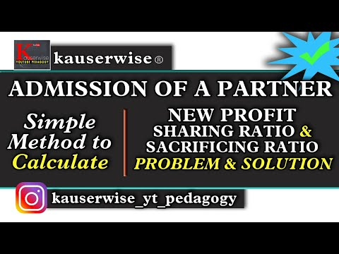 Admission of a Partner [#1] [New Profit sharing Ratio & Sacrificing Ratio] in partnership accounting