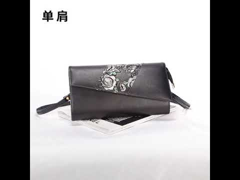 8f42b29e36 New leather handbags female lychee stitching long hand-painted women s bags