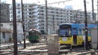 【阪堺電車】我孫子道車庫161貸し切り列車停車中