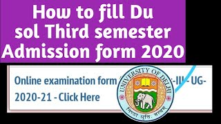 How to Fill sol third semester Admission form 2020