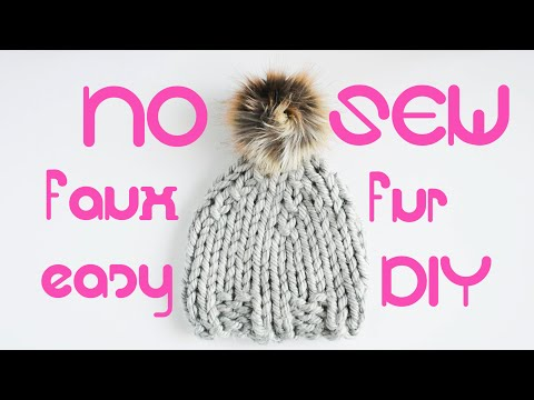 DIY No Sew Faux Fur Pom Pom Tutorial