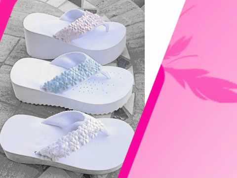 Custom Decorated Platform Wedding Flip Flops - YouTube