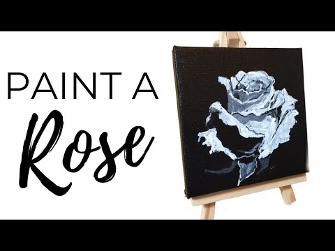 How to paint a White Rose Painting/Acrylic Time Lapse Painting For Beginners on Mini Canvas