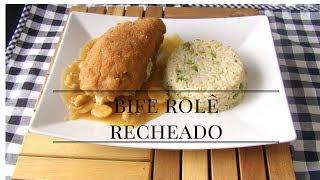 Bife Rolê Empanado e Recheado Com Ovo, Queijo, Presunto e pimentão
