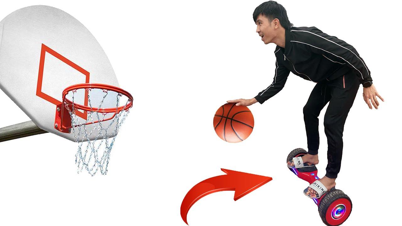 PHD   Trận Chiến Bóng Rổ Trên Xe Điện Cân Bằng   Basketball Battle Challenge