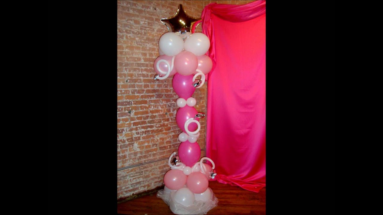 Sweet 16 balloon decor youtube for Balloon decoration ideas youtube