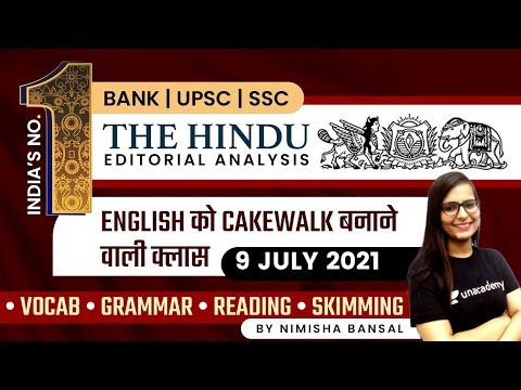 The Hindu Editorial Analysis   9th July   BANK/SSC/UPSC   Vocab Grammar Quiz   Nimisha Bansal