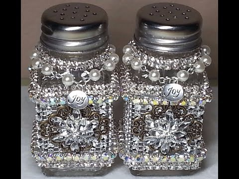 "DIY~Gorgeous Upcycled Dollar Tree Salt & Pepper Shakers~""Vintage Glam!"" SO EASY!"