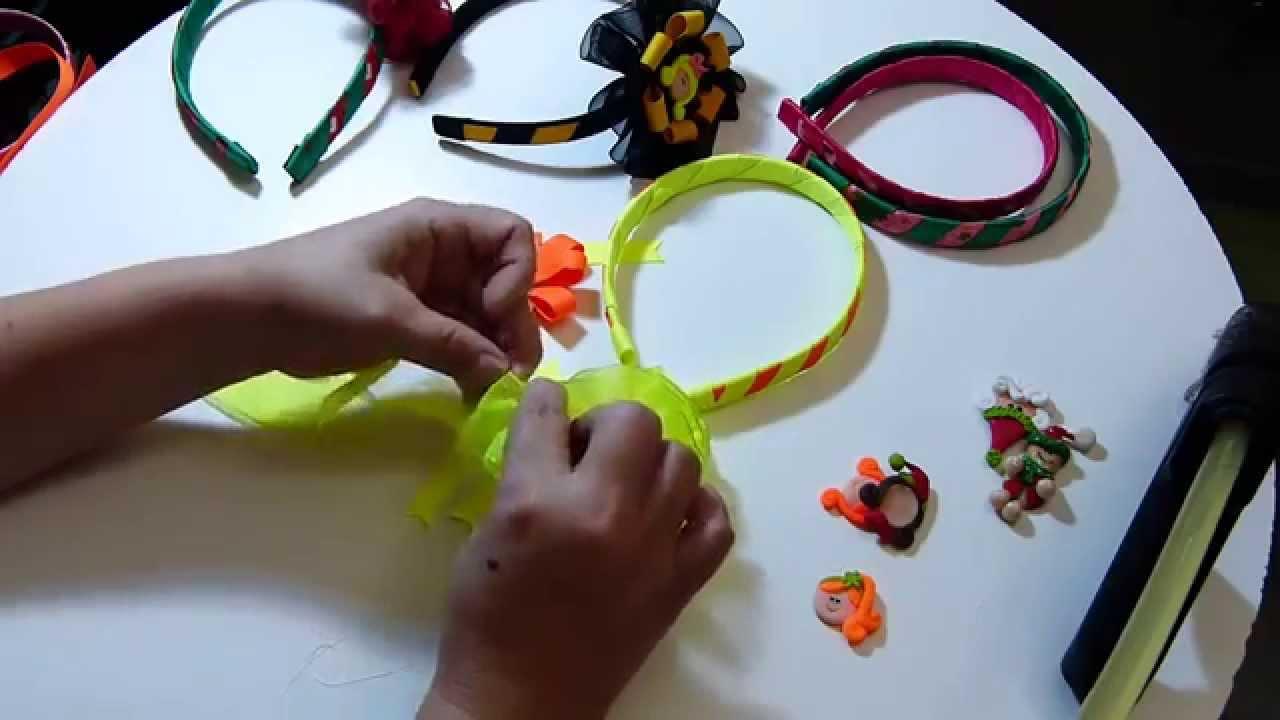 Crea Diademas Navideñas Forradas Facilmente y decorads con moños , YouTube