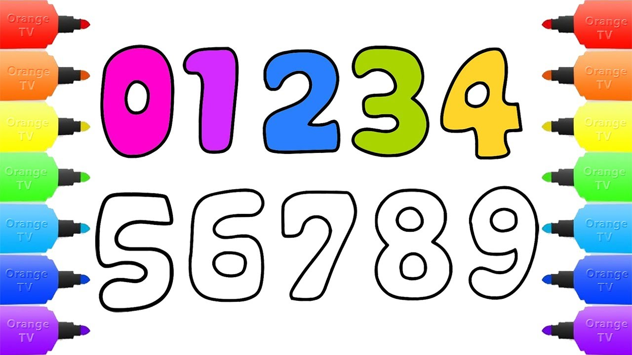Numbers Drawing and Coloring for Kids | Learn Numbers 123 ...