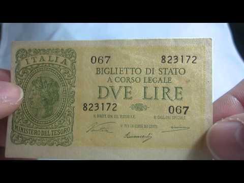 2 Lire 1944 Italia Italy Banknote Bill Paper Money