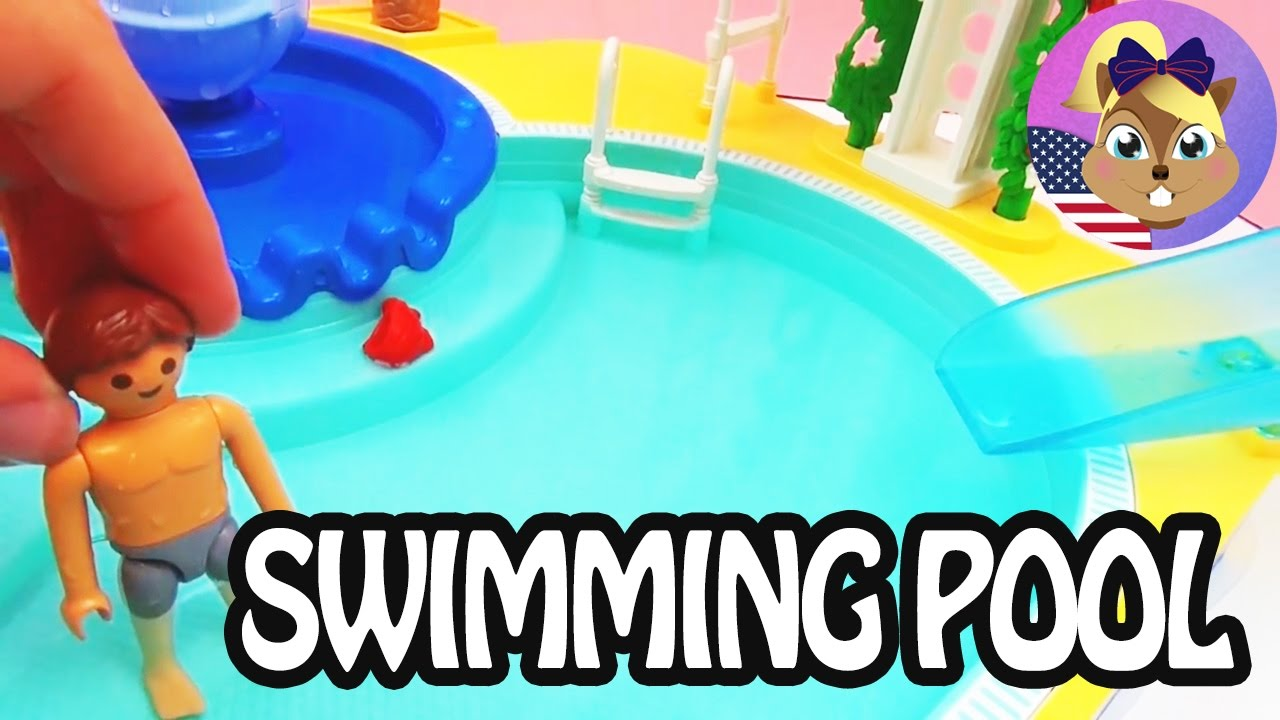 Amazing Playmobil Swimming Pool   Pool With Waterslide   Toy Review And Demo    YouTube