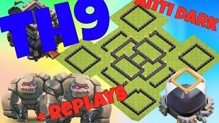 Clash Of Clans Th9 Farming Base Anti Dark Elixir With Replays 2016 Anti Giant + Anti Loot
