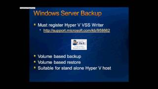 Presentation:- Backup and Recovery for Hyper V R2 System - Part 1