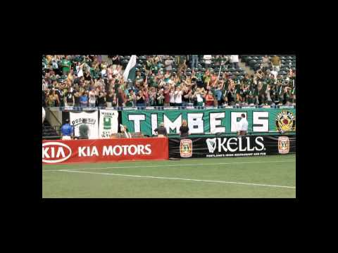 Timbers U-23s celebrate in front of Timbers Army at PDL Finals in Portland - August 7, 2010