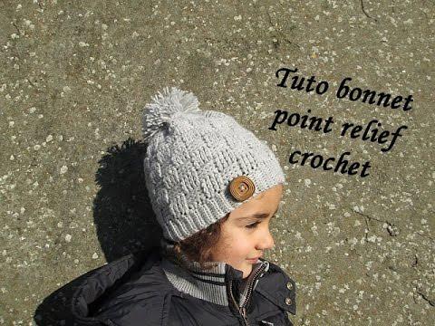 TUTO BONNET POINT DAMIER RELIEF AU CROCHET relief crochet hat GORRO RELIEVE  TEJIDO CROCHET