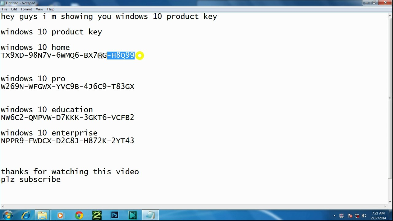 windows 10 home key free