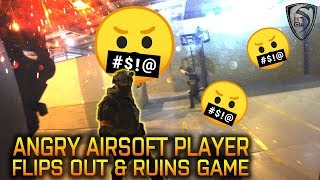 ANGRY AIRSOFT PLAYER FLIPS OUT AND RUINS GAME - GAMEPOD COMBAT ZONE GAMEPLAY