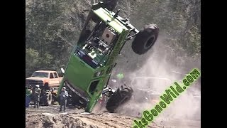 vuclip JUMP, FLIP ,WHEELIE, CRASH them  Mega Trucks IHMR March 2016