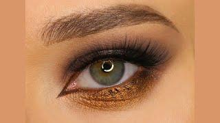 Вечерний макияж с пигментами от Tammy Tanuka Акцент на нижнее веко Контраст холодного и тёплого