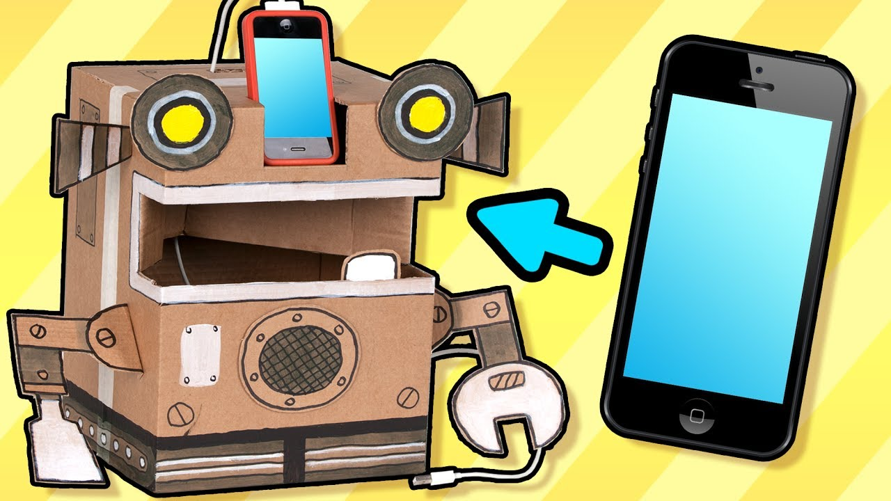 Cardboard Robot Phone Charger Craft Ideas With Boxes
