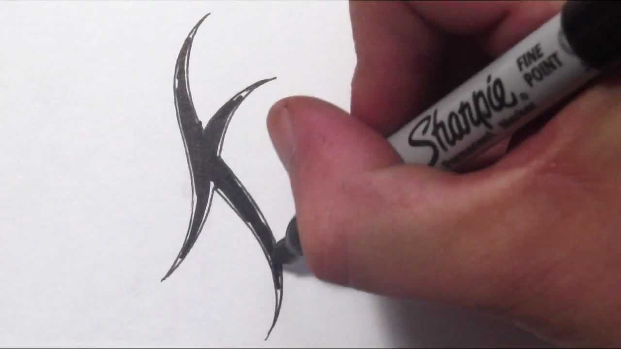 How To Draw A Simple Tribal Letter K