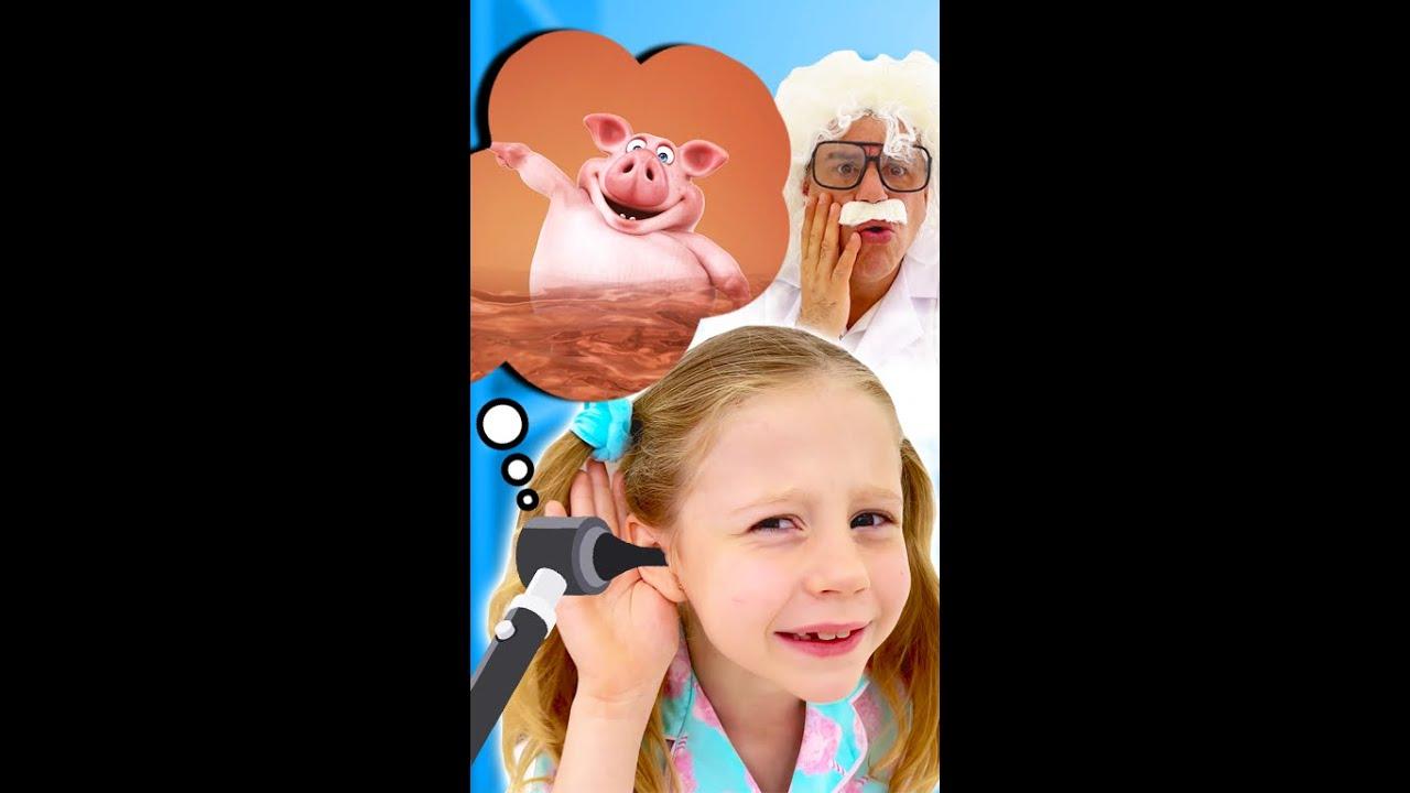 Nastya has a pig in her ears