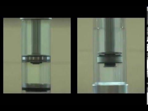 Сравнение работы однотрубного (слева) и двухтрубного (справа) амортизаторов