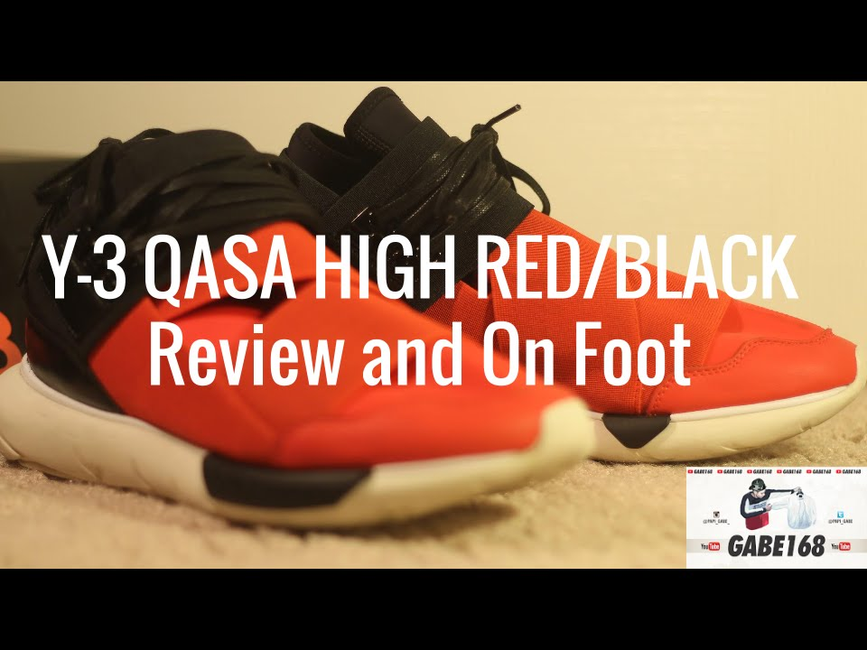 Adidas Y 3 Qasa High + Red and black Review + High on Foot YouTube be80d9