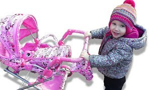 Alina plays with baby carriage for dolls Nursery rhymes for kids