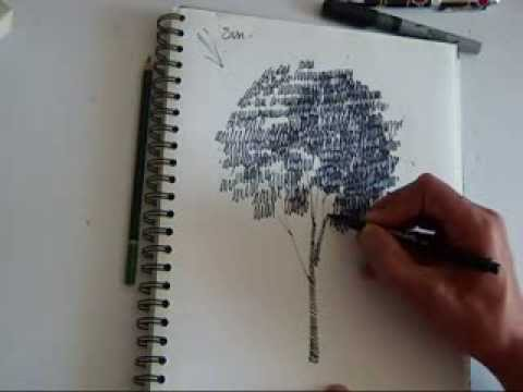 Architecture Drawing Of Trees how to sketch a tree with berol art marker - youtube