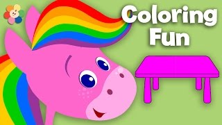 Furniture | Coloring and Music | Rainbow Horse | BabyFirst TV