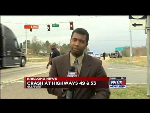 Highway 49 and 53 Accident (First Live Shot at WLOX) - YouTube