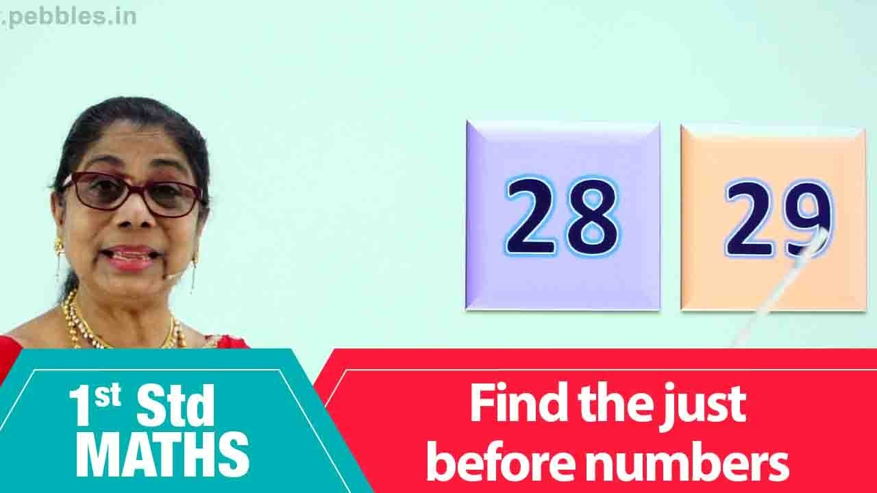 1st Std Maths | find the just before numbers | Mathematics Class -1 | Maths for beginners Part-59