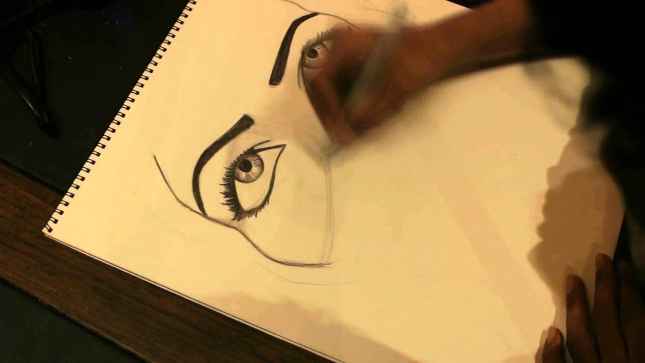 1 Draw Saudi Girl رسمة بقلم الرصاص والفحم Youtube