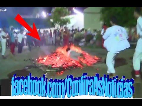 Homem mergulha na brasa Man on fire O Poder da fé man springs his body across the burning coals
