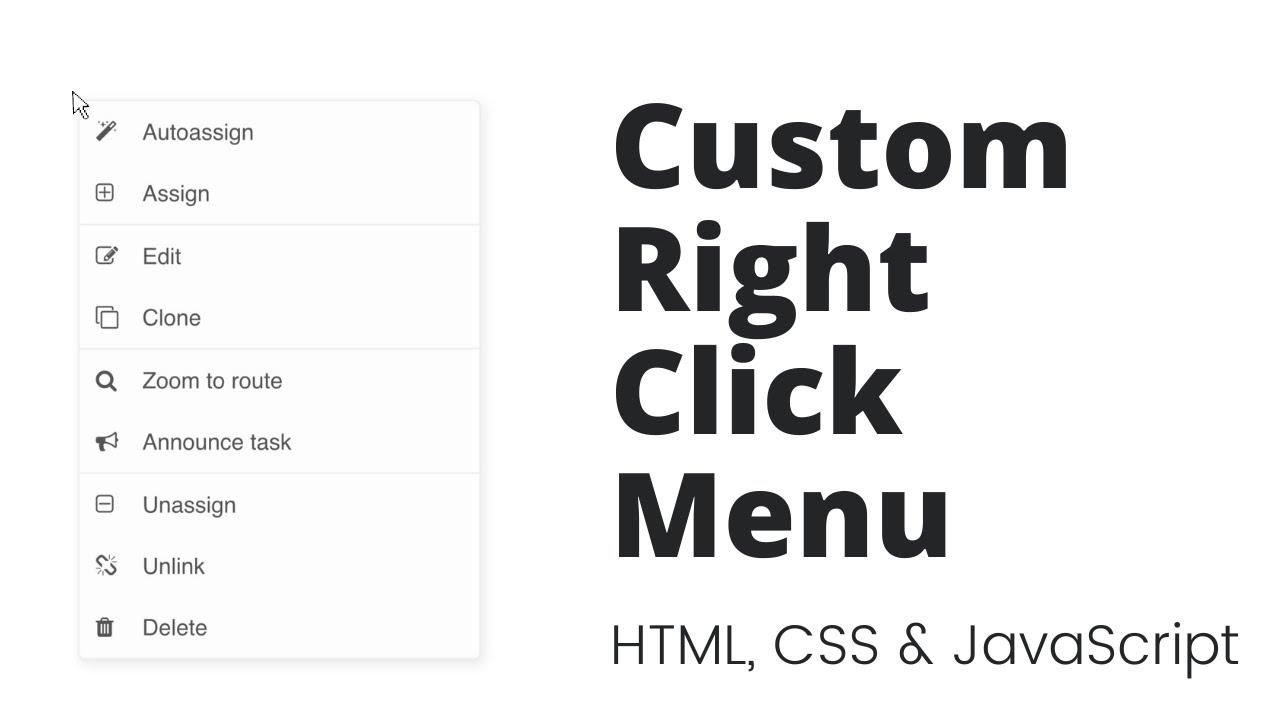 Create Custom Context Menu  / Right Click Menu using HTML, CSS & JavaScript