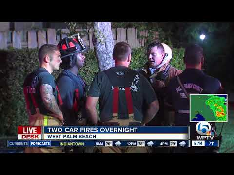 Two cars damaged by fire overnight in suburban West Palm Beach
