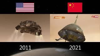 好奇號(2011) vs 天問一號(2021) 著陸動畫比較 Curiosity (2011) vs. TianWen-1 (2021) landing animation comparison